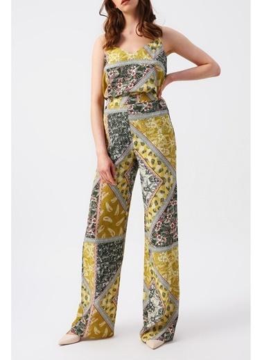 Random Kadın Yüksek Belli Desenli Bol Paça Pantolon Yeşil